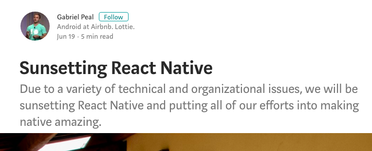 Airbnb abandona React Native