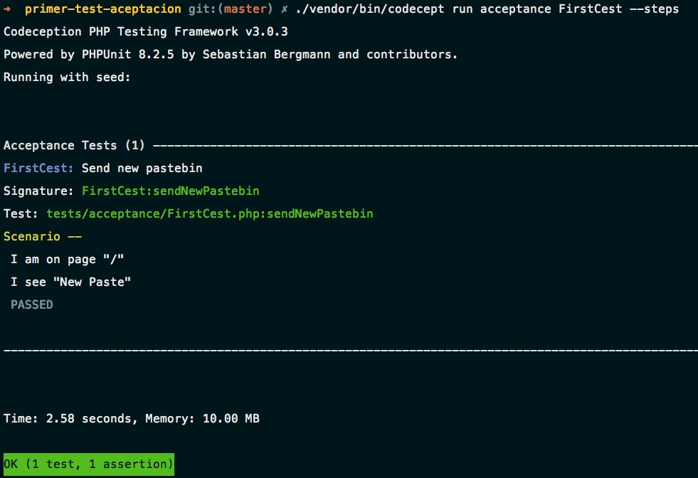 Primer test con Codeception